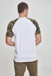Pánske tričko URBAN CLASSICS RAGLAN CONTRAST TEE wht/woodcamo #2