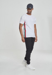 Pánske tričko URBAN CLASSICS Raglan Side Stripe Tee white/firered/green