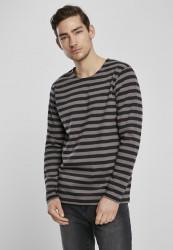 Pánske tričko Urban Classics Regular Stripe LS asphalt/black