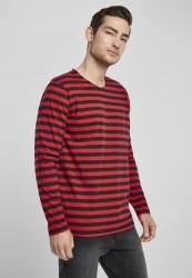 Pánske tričko Urban Classics Regular Stripe LS firered/blk