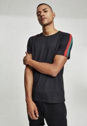 Pánske tričko URBAN CLASSICS Stripe Shoulder Raglan Tee blk/firered/green