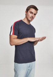 Pánske tričko URBAN CLASSICS Stripe Shoulder Raglan Tee navy/fire red/white