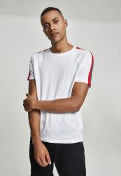 Pánske tričko URBAN CLASSICS Stripe Shoulder Raglan Tee white/firered/green