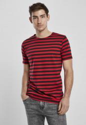 Pánske tričko URBAN CLASSICS Stripe Tee firered/blk