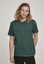 Pánske tričko URBAN CLASSICS Yarn Dyed Baby Stripe Tee darkfreshgreen/black