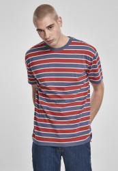 Pánske tričko URBAN CLASSICS Yarn Dyed Oversized Board Stripe Tee burnedred/vintageblue