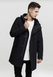 Pánsky kabát URBAN CLASSICS Hooded Structured Parka black Farba: Čierna,