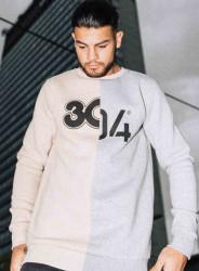 Pánsky krémovo-šedý crewneck 304 Clothing