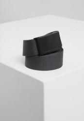Pánsky opasok Urban Classics Canvas Belts tmavošedý/čierny
