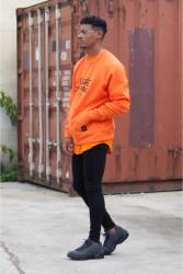 Pánsky oranžový crewneck Sixth June Raglan Sweatshirt Farba: Oranžová, #1