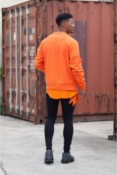 Pánsky oranžový crewneck Sixth June Raglan Sweatshirt Farba: Oranžová, #3