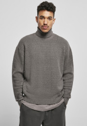 Pánsky sveter Urban Classics Oversized Roll Neck šedý