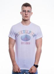PINK DOLPHIN Pánske biele tričko s krátkym rukávom PINK+DOLPHIN