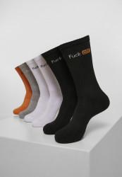 Ponožky MR.TEE Fuck Off Socks 6-Pack Farba: black/white/grey/neonorange,