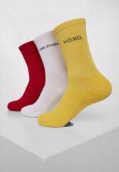 Ponožky Urban Classics Wording Socks 3-Pack yellow/red/white 35-50: 47-50