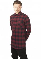 Predĺžená košela URBAN CLASSICS Long Checked Flanell Shirt blk/burgundy