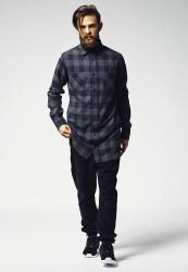 Predĺžená košela URBAN CLASSICS Long Checked Flanell Shirt blk/cha