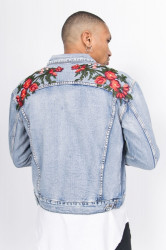 Rifľová bunda Sixth June Denim Roses Patches Jacket Farba: Modrá, #1