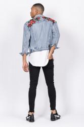 Rifľová bunda Sixth June Denim Roses Patches Jacket Farba: Modrá, #4