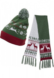 Set šál + čiapka Urban Classics Christmas Set green/red