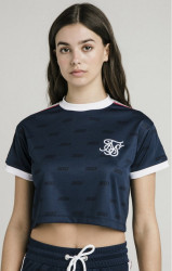 SIK SILK Dámske crop top tričko SikSilk Shadow Silk Crop Tee - Navy