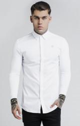 SIK SILK Pánska biela košeľa s dlhým rukávom SikSilk L/S Cartel
