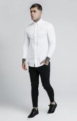 SIK SILK Pánska biela košeľa s dlhým rukávom SikSilk L/S Cartel #2