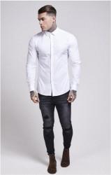 SIK SILK Pánska biela košeľa s dlhým rukávom SikSilk Stretch Crisp Farba: Biela, #1