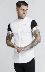 SIK SILK Pánska biela košeľa s krátkym rukávom SikSilk S/S Grandad Collar Tech