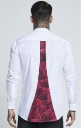 SIK SILK Pánska biela košeľa SikSilk L/S Grandad Collar Oxford