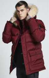 SIK SILK Pánska bordová bunda na zimu SikSilk Puff Parka