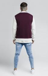 SIK SILK Pánska bunda SikSilk Contrast Jersey Bomber Jacket Farba: Béžová,Bordová, #3