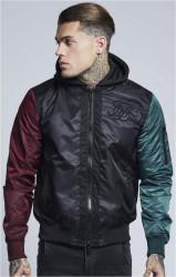 SIK SILK Pánska bunda  SikSilk Jersey Hood Bomber - Black, Burgundy & Green