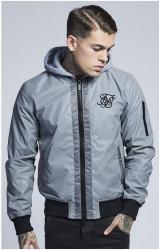 SIK SILK Pánska bunda SikSilk  Jersey Hood Bomber - Reflective Metallic Grey