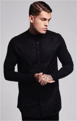 SIK SILK Pánska čierna košeľa s dlhým rukávom SikSilk Grandad Collar Jersey