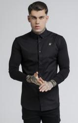 SIK SILK Pánska čierna košeľa s dlhým rukávom SikSilk L/S Cartel Farba: Čierna,