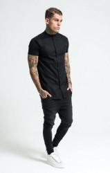 SIK SILK Pánska čierna košeľa SikSilk Grandad Collar Jersey Farba: Čierna, #1