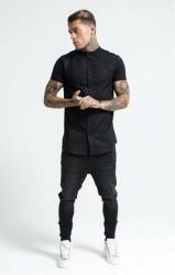SIK SILK Pánska čierna košeľa SikSilk Grandad Collar Jersey Farba: Čierna, #2