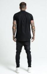 SIK SILK Pánska čierna košeľa SikSilk Grandad Collar Jersey Farba: Čierna, #3