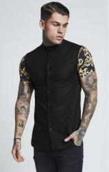 SIK SILK Pánska čierna košeľa SikSilk Grandad Collar S/S Oxford Farba: Čierna,