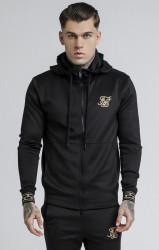 SIK SILK Pánska čierna mikina s kapucňou SikSilk Cartel Agility Zip Through Farba: Čierna,