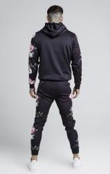 SIK SILK Pánska čierna mikina s kapucňou SikSilk Oil Paint PolyTricot Overhead Farba: Čierna, #3