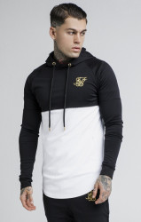 SIK SILK Pánska čierno-biela mikina s kapucňou SikSilk Zonal Overhead Hoodie