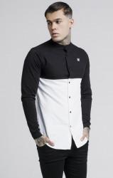 SIK SILK Pánska košeľa SikSilk Cut and Sew L/S Grandad Collar Farba: Biela,Čierna,