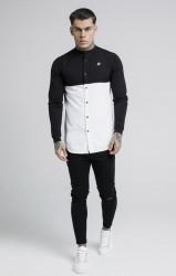 SIK SILK Pánska košeľa SikSilk Cut and Sew L/S Grandad Collar Farba: Biela,Čierna, #2
