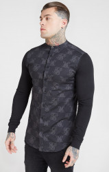 SIK SILK Pánska košeľa SikSilk Muscle Fit Oxford Cotton Shirt - Black