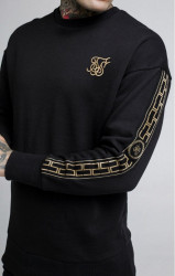 SIK SILK Pánska mikina SikSilk Cartel Drop Shoulder Crew Sweat - Black