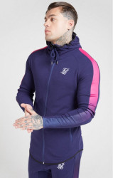SIK SILK Pánska mikina SikSilk Fade Panel Zip Through navy
