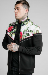 SIK SILK Pánska mikina SikSilk Floral Pixel Funnel Neck Zip Through