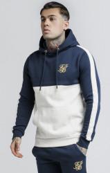 SIK SILK Pánska modrá mikina s kapucňou SikSilk Cut & Sew Marl Taped Farba: Modrá,Navy,